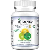 BIOMENTA VITAMINES D + K | Vitamine D3 + vitamine K1 + vitamine K2 | HAUTE DOSE | 2 mois de traitement | 120 capsules de vitamine végétarien
