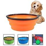 Aolvo klappbar Fressnapf, 2.5l/85.5oz Big Kapazität Lebensmittelechtes Silikon BPA-Frei Haustier Hund Katze Lebensmittel Wasser Feeder Faltbare Schüsseln für Reisen mit Haustieren