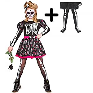 Mega Fancy Dress - Costume travestimento da bambina, con collant, per Halloween, teschio e scheletro