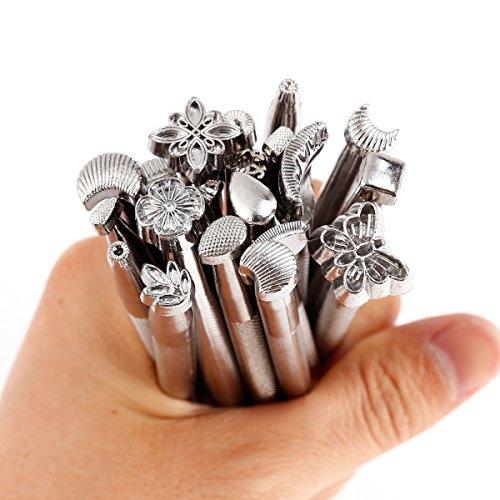 20 Stk. Edelstahl Punziereisen Punzierstempel Präge Stempel Werkzeug Für Leder