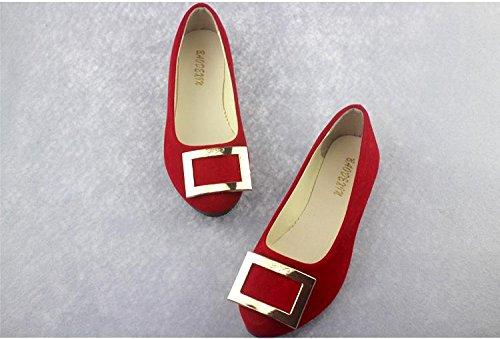 LvYuan Scarpe da donna / pelle scamosciata / ufficio & carriera / tacco piatto / comodità casual / moda casual / mocassini & scarpe da ginnastica / scarpe pigro camminate Red