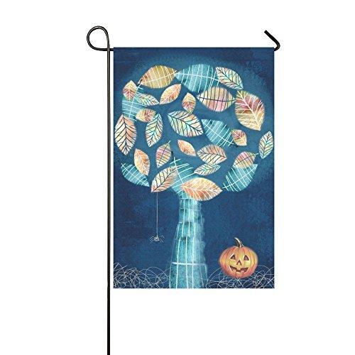interestprint Halloween mit scary Kleine Spinne Web auf geheimnisvolle Baum Kürbis lange Polyester Garten Flagge Banner 30,5x 45,7cm, Halloween Thema Fahne Deko für Hochzeit Home Outdoor Garden Decor (Halloween-bäume Scary)