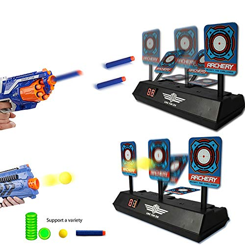 Teepao Schieß-Zielscheibe, elektrischer Punktzahlständer, für Kinder, elektronisch, intelligente Licht- und Soundeffekte, Zielscheibe, Geburtstagsgeschenk/Junge, 1 Set 2er-Set