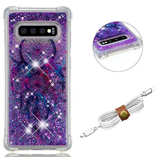QY Mart Purpurina Funda Compatible Samsung Galaxy S10 Plus Brillante Arena Movediza Líquido Transparente Gel TPU Bumper Suave Silicona Carcasa con Auriculares Organizador - Atrapasueños