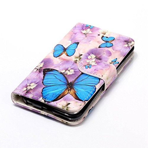 Coque pour iPhone iPod Touch 5, Etui pour iPod Touch 6, ISAKEN Peinture Style Soulagement de la couleur PU Cuir Flip Magnétique Portefeuille Etui Housse de Protection Coque Étui Case Cover avec Stand  Papillon bleu fleur