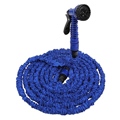 amzdeal Gartenschlauch Flexischlauch Wasserschlauch mit 7 Multifunktions Sprühkopf, Länge 5m bis 15m ausgedehnt, Blau