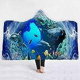 Kreative Bunte Delphin-Kunst-Marinetierdruck-mit Kapuze Decke Luxus Verdickt Hypoallergen Sherpa Fleece Decke Ultra Weich Und Warm Winter TV Computer Werfen Decke Für Erwachsene Und Kinder