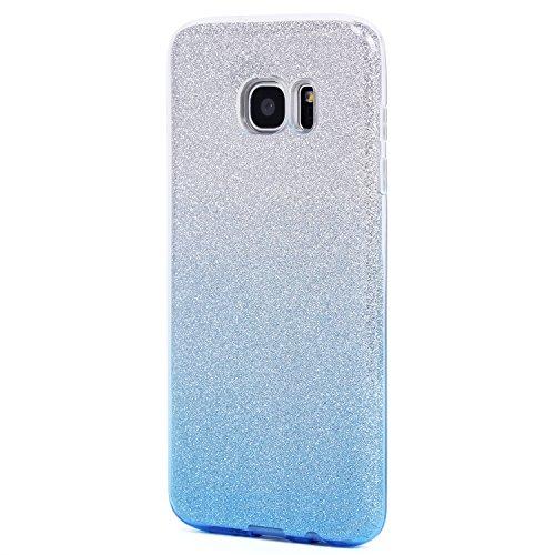 iPhone 5/5S/SE Hülle, Imikoko™ Glitzer Schutzhülle [Weiche TPU Abdeckung + Glitzer Papier + PP innere Schicht] [Drei in Einem] Hülle für iPhone 5/5S/SE(Farbverlauf rosa) Farbverlauf Blau