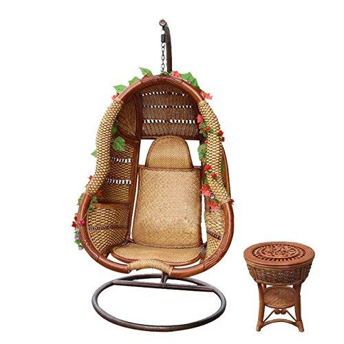 Natürlichen bambus - rattan wicker swingsessel set / schwebesessel suite / hängesessel satz / hängekorb / hängematten / schwingen / trapez / longue / sitz / sitzer / sessel / couchtisch / teetisch / couchtisch / beistelltisch / ende tabelle