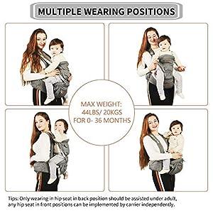 JooBebe Mochilas Portabebé Ergonómico Ajustable Marsupios Portabebé Baby Carrier Ergonomico, Manos Libres, Convertible…