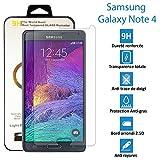 TOPACCS - Samsung Galaxy Note 4 - Véritable vitre en verre trempé ultra résistante - Protection écran - AVEC BOITE