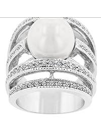 Anillo de gama alta de plata de perla de diamante