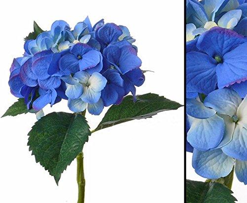 Kunstblume Hortensie, mit blauer Blüte Durch. 15cm, wasserfesten Stiel, Länge 48cm - Kunstpflanze künstliche Blumen Kunstblumen Blumensträuße künstlich, Seidenblumen oder Blumen aus Plastik Kunststoff </p> --> großes Kunstblumen Sortiment