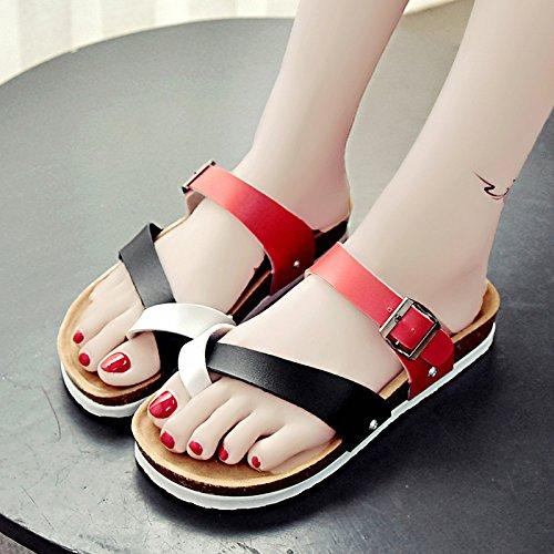 RUGAI-UE Serie estate flop donne di spessore con suole di scarpe sandali ciabattine Beach Gules