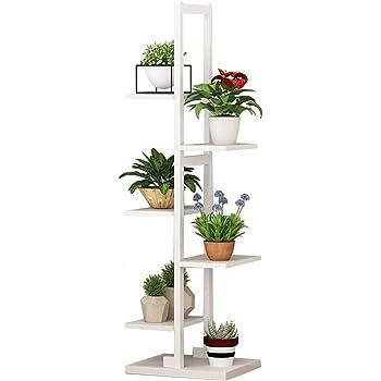 ba58f3446903 Étagère à fleurs étagère à plantes en bois présentoir en acier cadre en  acier de stockage plein air intérieur 6 porte-pots de fleurs en blanc pour  salon ...