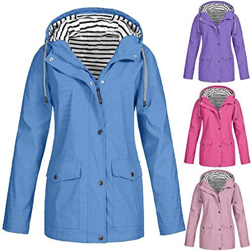 DEELIN Mantel Damen Große Größen Winter Jacke Outwear Women Coat Langarm Outdoor Wasserdichter Kapuzen Regenmantel Damen Solide Regenjacke Freien Winddichte Überzieher -