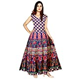 Silver Organisation Women's Cotton Jaipuri Printed Maxi Long Dress (Multicolor, Free Size) -Combo of 2 Pieces