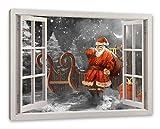 Pixxprint Weihnachtsmann mit Geschenken, Fenster Leinwandbild |Größe: 120x80 cm | Wandbild | Kunstdruck