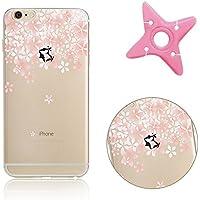 iPhone 7 Funda, Patrón de Lujo MAOOY iPhone 7 Caja Protectora Flexible Transparente Soft Clear Cubrir para iPhone 7 + 1 x Enrollador de Auriculares (Color Aleatorio) - flor de cerezo 9