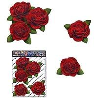 Rote Rosen-Blumen-kleines Auto-Aufkleber-Satz - ST00066RD_SML - JAS Aufkleber