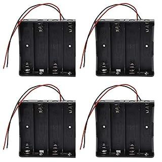 4 Stück 18650 Batteriehalter Tandem Lithiumbatterie Aufbewahrungsbox Kunststoff mit Wire Leads für Einfaches Löten und Anschließen (4 Solts)
