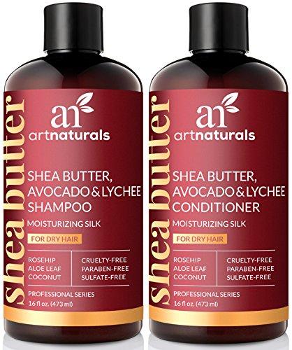 ArtNaturals Sheabutter Shampoo und Conditioner Set - (2 x 16 Fl Oz / 473ml) - Für Trockenes und Strapaziertes Haar - mit Avocado, Litschi, Hagebuttenextrakt, Aloe Vera und Kokosnuss - Moisturizing
