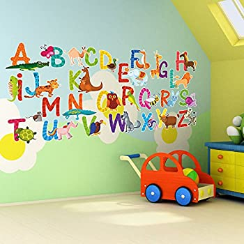 Lovely 26 Individual Alphabet Animals Self Adhesive Wall Art Stickers (Small (7cm  Letters)) Part 13