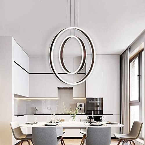 LED 2 Ringe Kronleuchter, kreisförmige gebürstetem Aluminium Lampenschirm Pendelleuchte, verstellbare Drahtseil Deckenleuchte, ideal für Esszimmer Wohnzimmer Schlafzimmer Arbeitszimmer,Brown(Stepless) - Kreisförmige Lampenschirme
