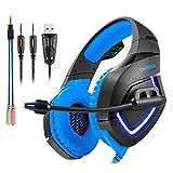 Headset Gaming PC ArkarTech Mikrofon Kopfhörer Gamer Ultra-leichtes Einstellbare Bass-Stereo