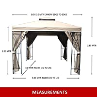 Gazebo Buckingham 3m X 3m Dark Cream Fully Waterproof Pvc Lined Canopy Heavy Duty Complete With Zipped Curtains *****stock In End Of February***** from MASTERS OUTDOOR LEISURE LTD