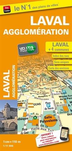 Plan de ville de Laval et de son agglomération - Echelle : 1/11 000 - Avec localisation des stations VeliTul