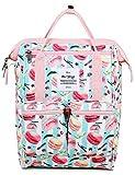HotStyle DISA Fashion Blumen Damen Laptop Rucksack 12 Zoll (35x23x15cm) - Makrone & Streifen