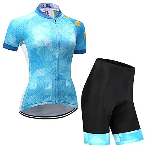 GWELL Damen Blumen Radtrikot Fahrradbekleidung Set Trikot Kurzarm + Radhose mit Sitzpolster blau L