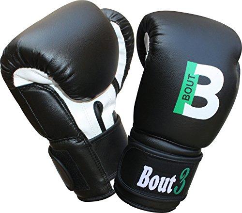 BOUT3 – Guantoni da boxe da bambini, per allenamento, Sparring, sacco di sabbia, sacco da boxe, Muay Thai, Nero, 170 g
