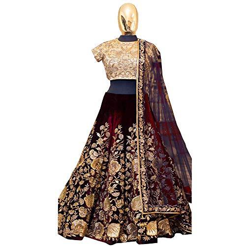 Sari Lehenga (Indische Braut Heavy Velvet lehenga choli Dream Exporter 1134 - rot -)
