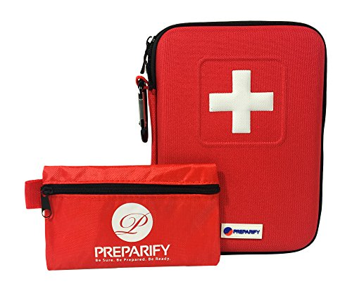 Preparify 2-in-1 First Aid Kit 150 Piece, Red Semi Hard Case + Ultralight Mini Bag for Emergency at Home, Workplace, Car, Outdoors, Camping, Hiking & Survival