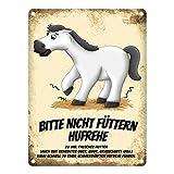 trendaffe - Metallschild mit weißes Pferd Motiv und Spruch: Bitte Nicht füttern - Hufrehe