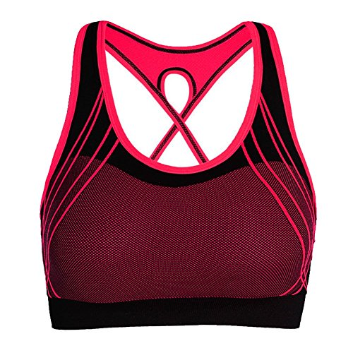 Demarkt Femme Brassière Soutien-gorge Collant Sport Athletic Fitness Yoga Jogging red