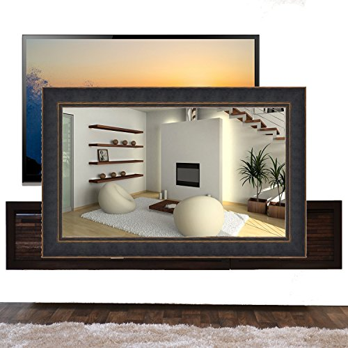 Handmade Framed Mirror to Turn Your Existing TV to Hidden Mirrored Television that Blends into Your Home or Business Decor (32 Inch, NY Black Orange)