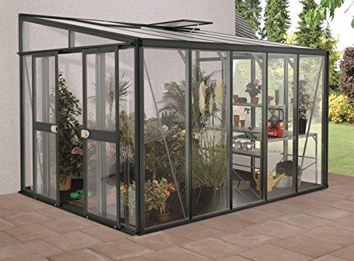 Gartenwelt Riegelsberger Anlehngewächshaus Helena - Ausführung: 8600 Kombi ESG 4 mm und HKP 10 mm grau, Fläche: ca. 8,6 m², mit 2 Dachfenster, Sockelmaß: 2,68 x 3,44 m