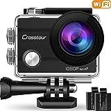 """Action Cam Wifi 1080P Full HD Crosstour Sports Kamera 2"""" LCD 170°Weitwinkel Helmkamera Unterwasserkamera mit 2 Batterien 1050mAh und Zubehör Kits"""
