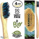 Bambus Zahnbürsten Natur Holzzahnbürste Biologisch Abbaubar - Bpa Frei (4er Pack) Mittel bis Weich - Bamboo Toothbrush Vegane Bio - plastikfrei verpackte