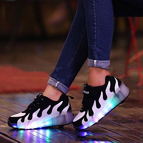 CICI 3D gewebte leichte Kinder Roller Schuhe Jungen Mädchen Automatik LED beleuchtete blinkende Kinder Mode Sneakers mit einem Wheels Weiß