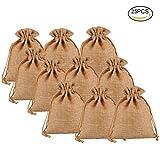 Pretty See Sie natürlichen Leinwand-Taschen umweltfreundliche Geschenk-Taschen-Satz-kreativen Leinensack mit Drawstring, Kaffee, Satz von 25