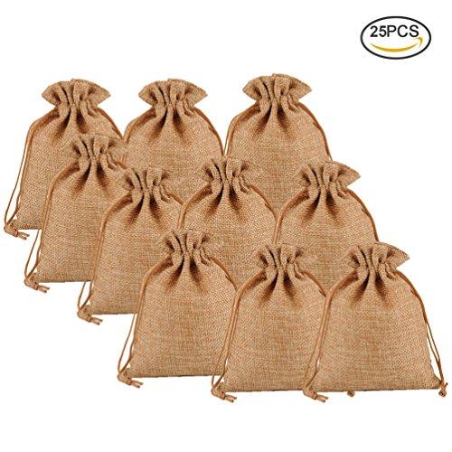 (Pretty See Sie natürlichen Leinwand-Taschen umweltfreundliche Geschenk-Taschen-Satz-kreativen Leinensack mit Drawstring, Kaffee, Satz von 25)
