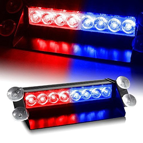 Auto Hub 8 LED Red Blue Police Flasher Light