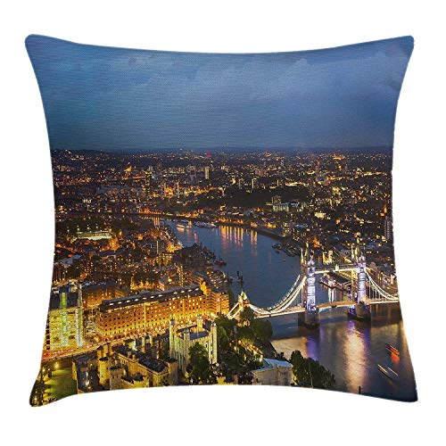 Modern Throw Pillow Cushion Cover, Sunset at London England Cityscape Night Lights and Tower Bridge Landmark Urban, Decorative Square Accent Pillow Case, 18 X 18 Inches, Yellow Bluegrey