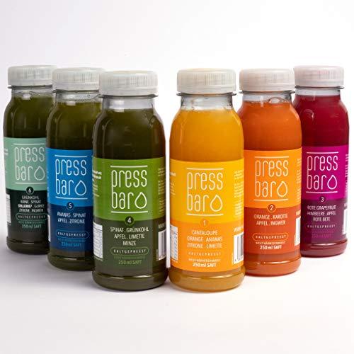 5 Tage Saftkur von pressbar - 30 Flaschen - 6 verschiedene Säfte pro Tag. Kaltgepresste Säfte für Deine Kur - hochwertige natürliche Obst & Gemüse Säfte - Achtung: Kühlware, nach Erhalt sofort kühlen - Saft Orange-karotte