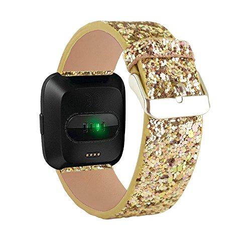 Gimartuk Fitbit Versa Bands, Frauen Bling Leder Ersatz Band Smart Watch Zubehör Strap Armband 14cm-20,1cm Verstellbar, Damen, WF-398, Gold, 5.5-7.9 inch (Zoll 7 Gold-armband)