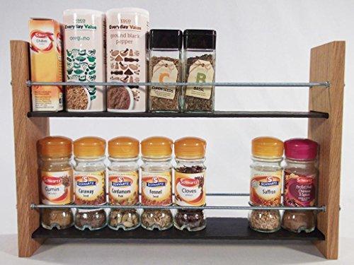Design en Chêne massif et Ardoise.. Épice/Présentoir pour plantes.. 2 Niveaux, 16 pots - Style moderne contemporain - Étagères profondes pour les larges bocaux d'épices, boîtes, pots Kilner